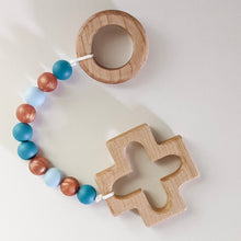 Load image into Gallery viewer, Silicone bead teething strand with wooden ring and cross at either end