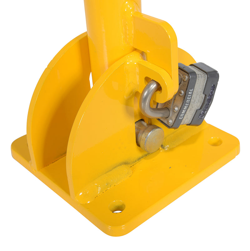Padlock on Folding Bollard Mechanism