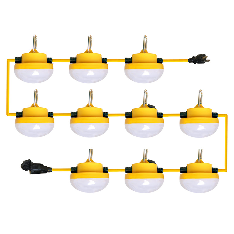 Construction String Light - 10 Lights, 100 ft, Without Cage, 2 Prong Plug
