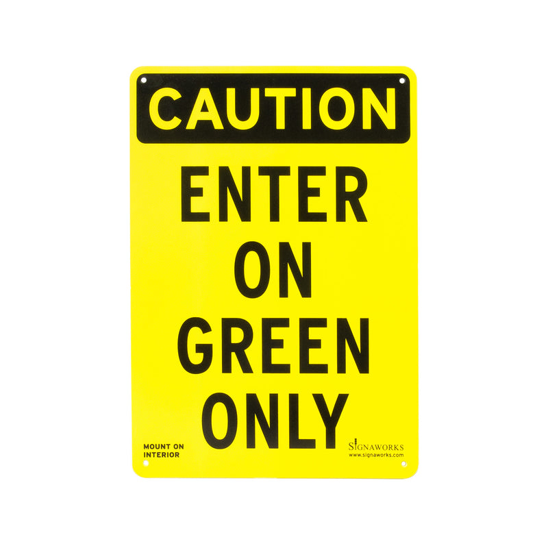 "10"" x 14"" ""Enter On Green"" Plastic Interior Sign"