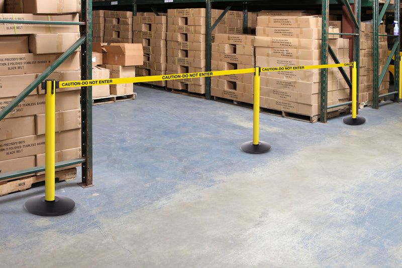 Stanchions used in a warehouse
