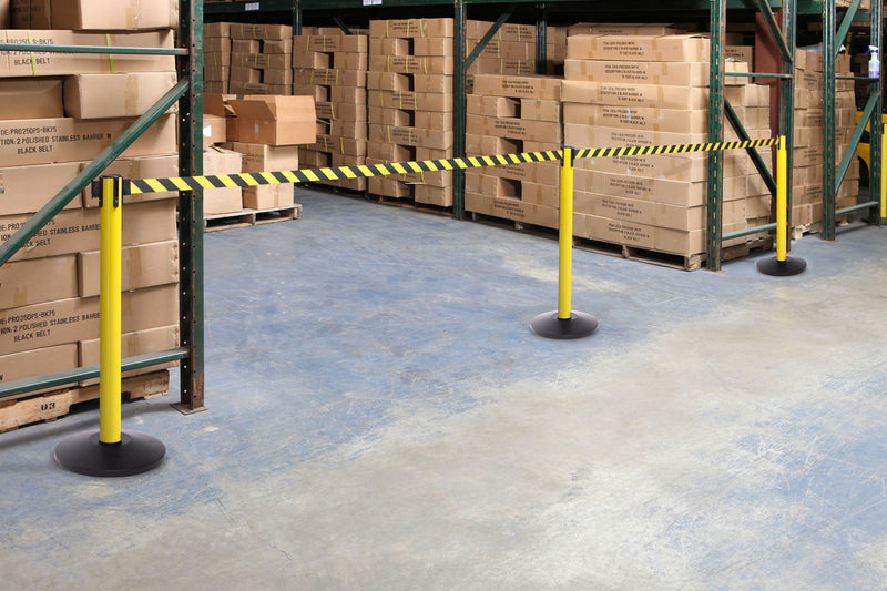 Yellow and Black Diagonals used in a warehouse