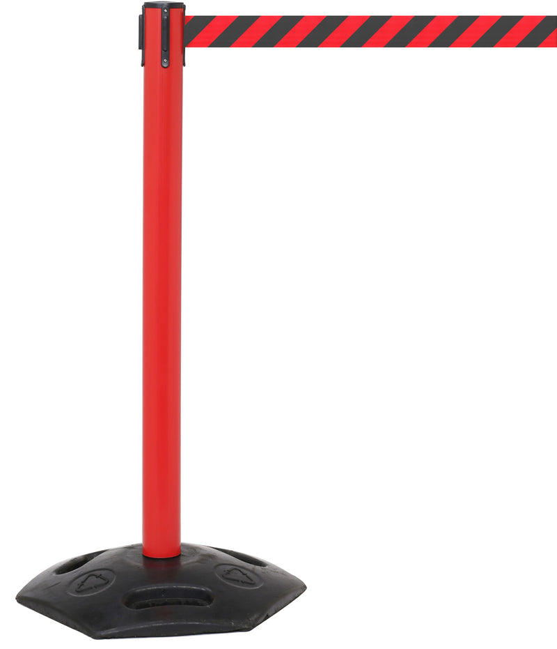 red stanchion with red and black belt