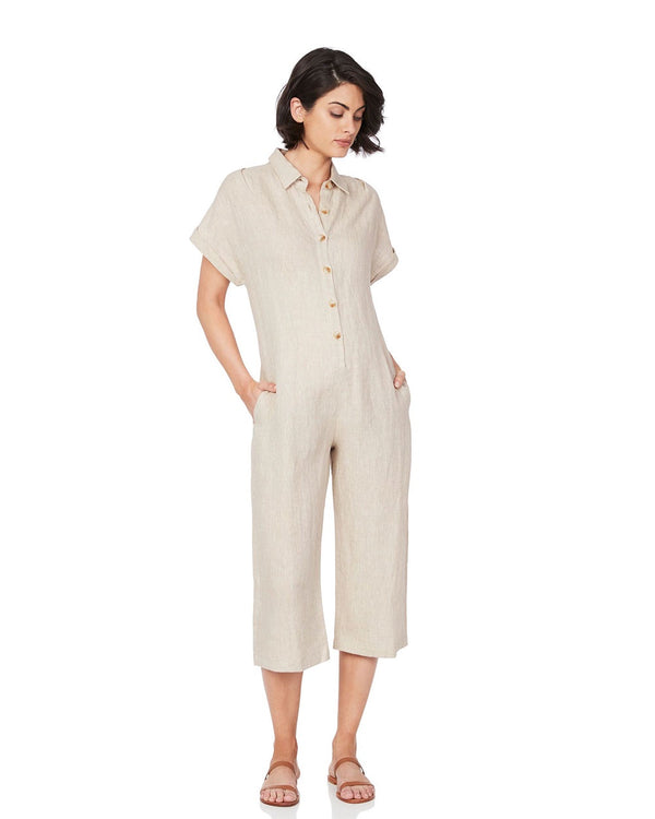 Soon Maternity Lily Buttoned Jumpsuit Nude