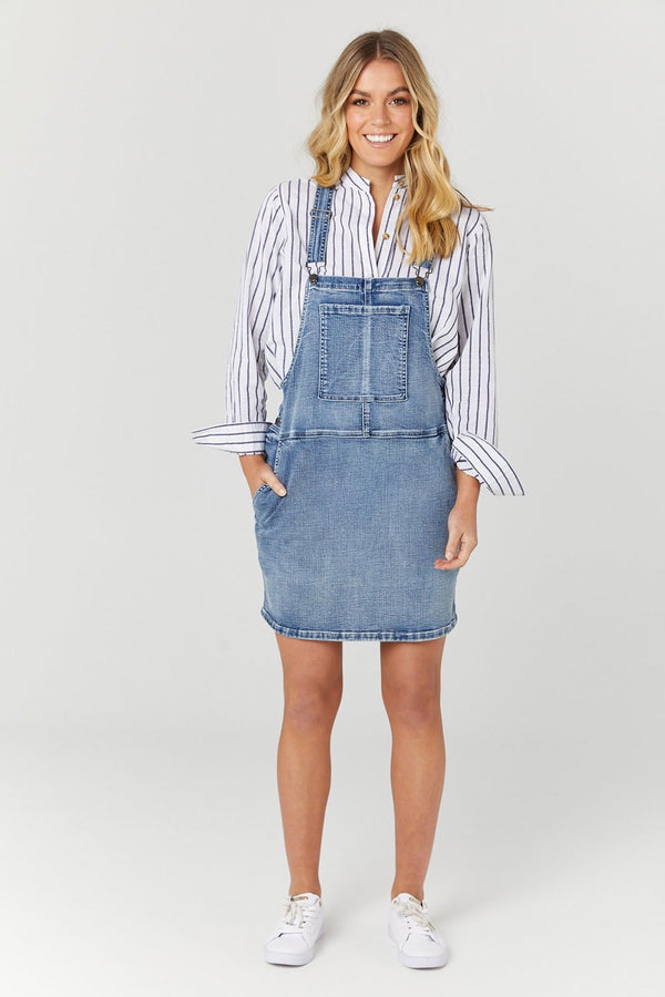 Legoe Heritage Denim Pinafore Dress Blue Denim