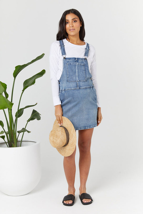 Denim Pinafore Dress Blue Denim