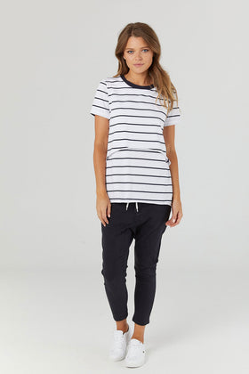 Halcyon Nursing Tee White Navy
