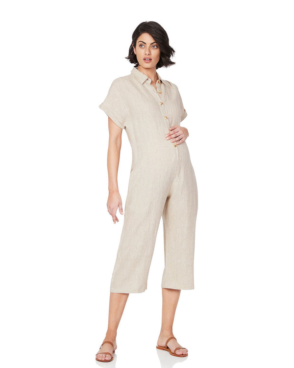 Lily Buttoned Jumpsuit - Nude