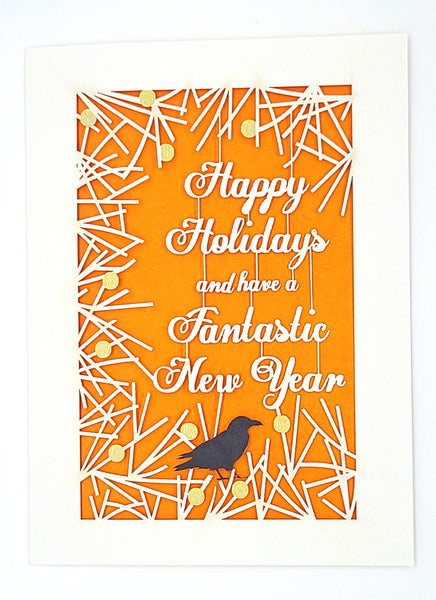 Happy Holiday's and New Year - Branches, Berries & Raven