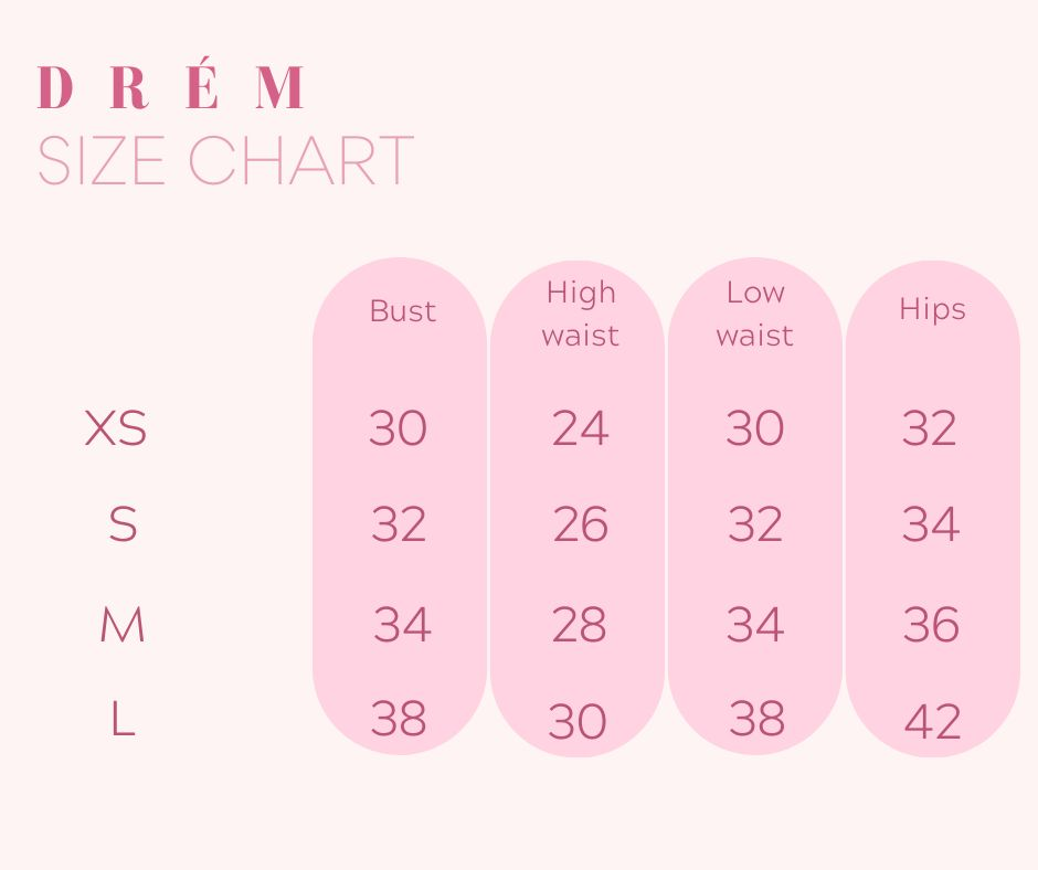 DRÉM Size Guide for XL to 4XL