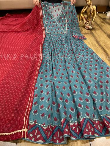 Buy Two  Beautiful Premium Light Grey and Sky Blue Silk Anarkali Gown with Dupatta combo set