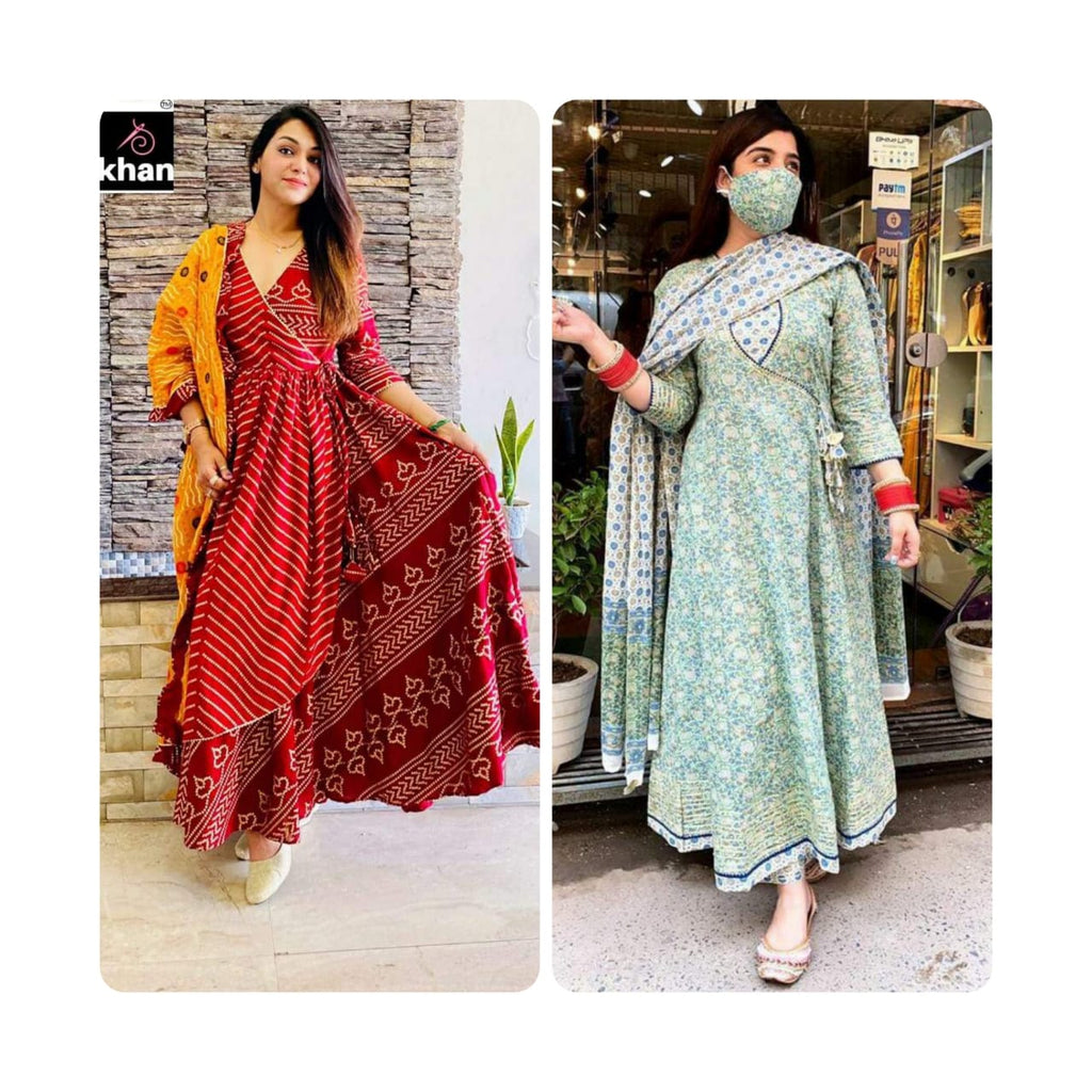 Premium Cotton Angrakha  and Maroon 3 Layer Angarkha Dress combo sets