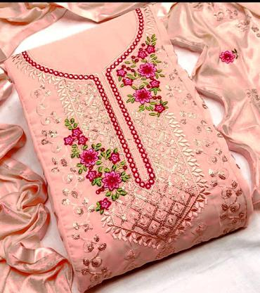 Buy any 8 Embroidered Georgette Salwar Suits