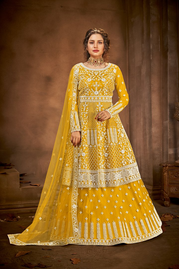 Buy any two beautiful Embroidered Net Chania Choli sets