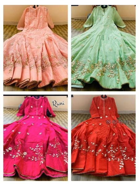 Buy any 2 or 3 Chanderi Goto Work Long Gown  Online