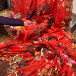 8 Sets Digital Floral Georgette Embroidery Saree Online Buy