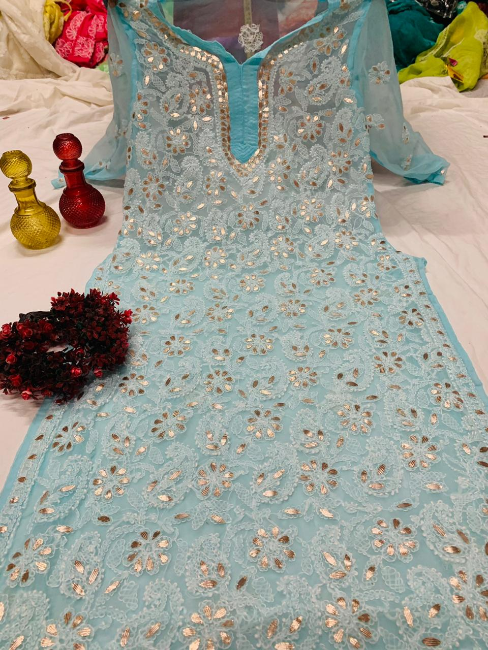 Buy any 10 Chikan Embroidered Kurtis Free Shipping USA UK AUSTRALIA etc