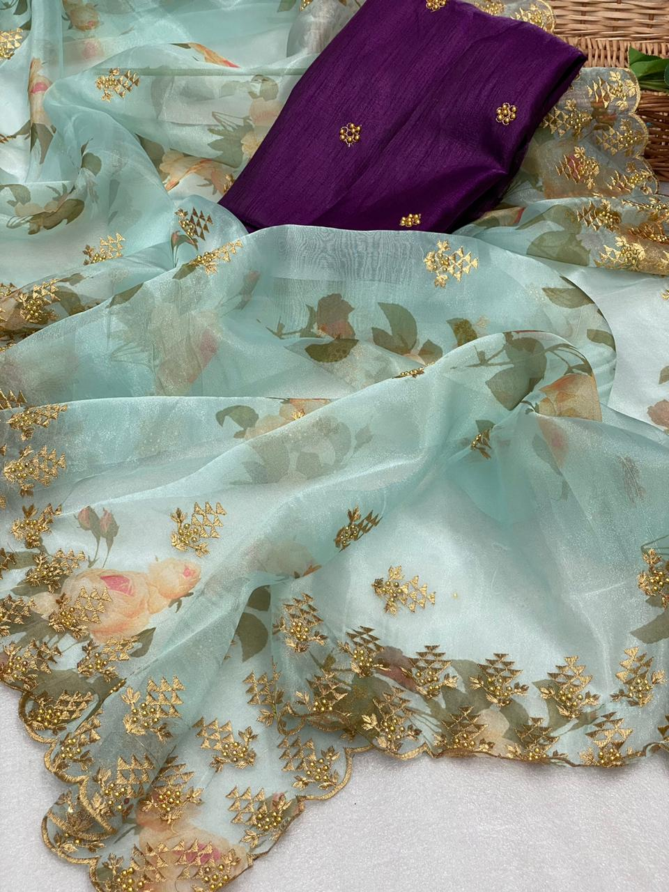 8 Sets Pastel Color Digital Floral Organza Embroidered Saree Online
