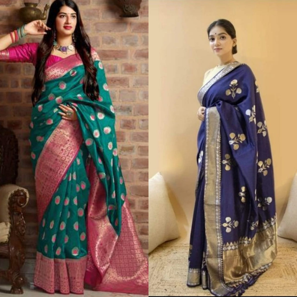 Buy Turquoise Blend  and Navy Blue Woven Design Banarasi  saree combo sets