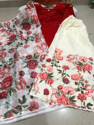 Buy any 10 Chikan Kurti and Chikankari Kali Digital Print Sharara with Dupatta