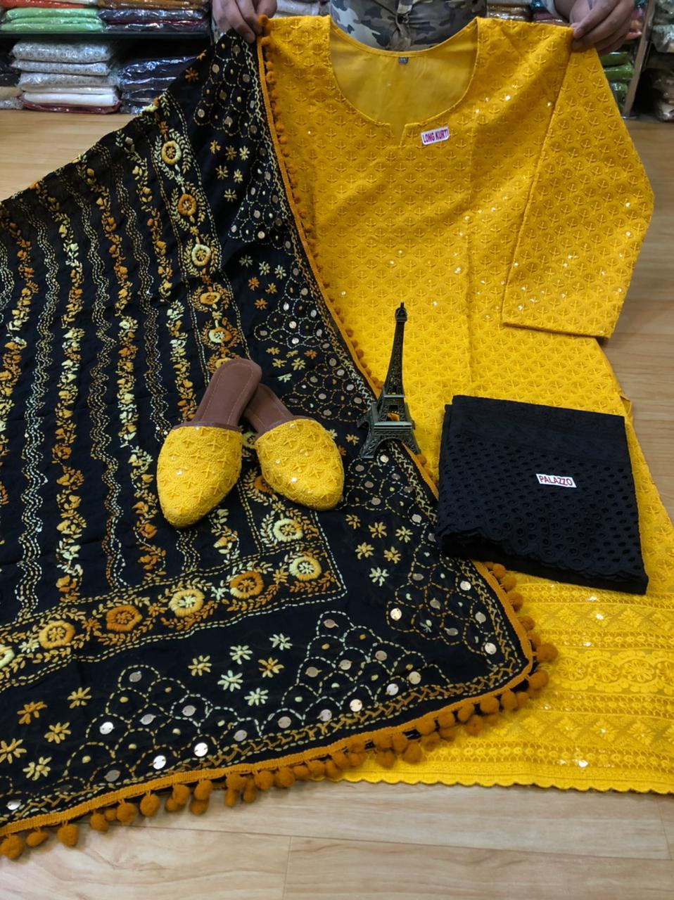 Black and Yellow Kurti Pallazo and Jutti Combo Exclusive pom Pom phulkari Pure georgette handwork embroidery dupatta