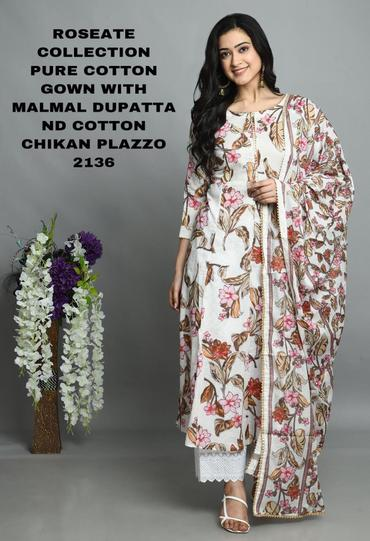 Buy 4 Cotton Kurti Gown Latest Design With Plazzo & Dupatta