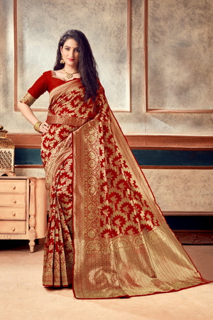 10 SETS Banarasi Silk Butti Weaves with Heavy Border Saree