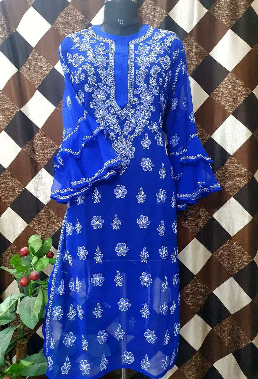 Buy any 10 Chikan Kurti Bell Sleeve Kurtis USA UK AUSTRALIA etc