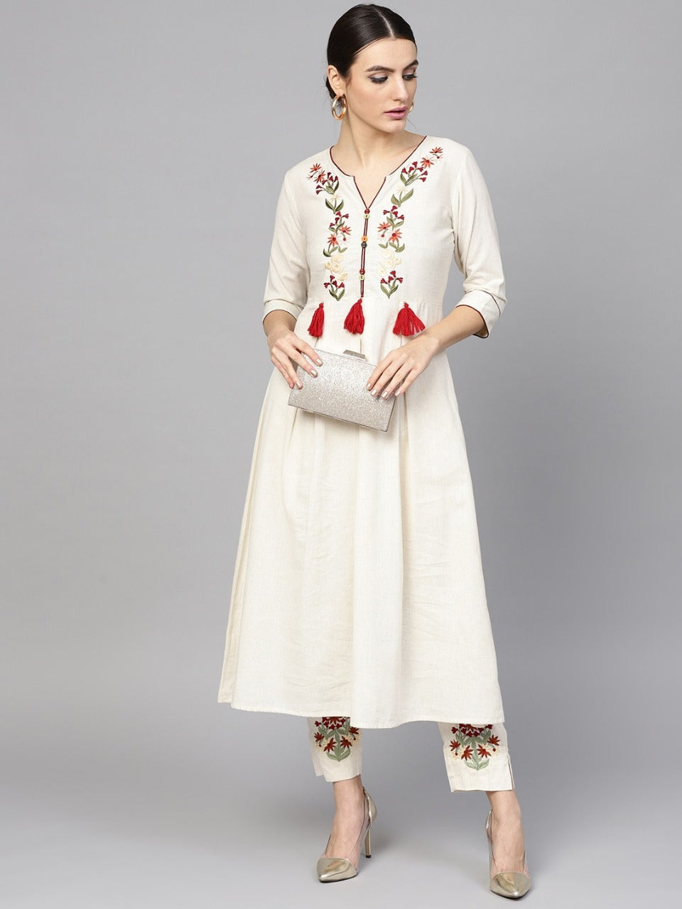 Buy Sets of 10 Kurti Off-White Cotton Kurta With Trousers