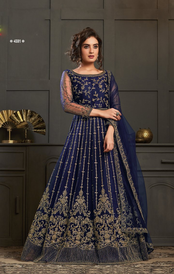 Buy 3 Resham Embroidered Long Anarkali Suits