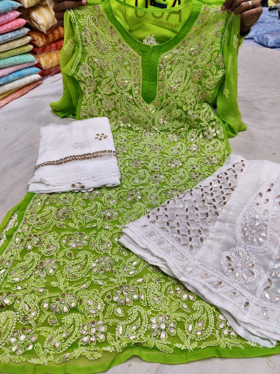 Green Georgette Gota Patti  Kurti Palazzo Salwar Suits Online India
