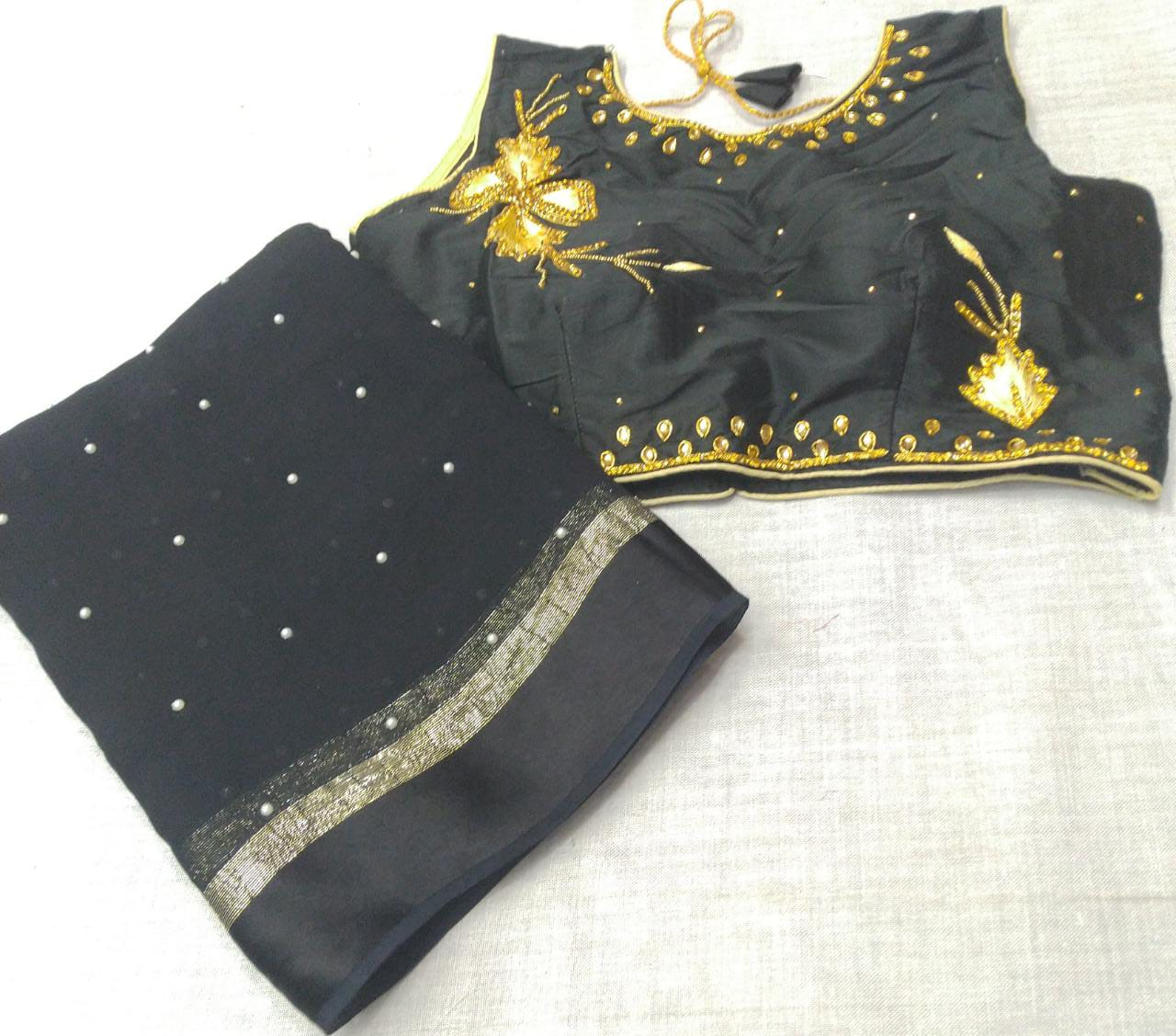 Buy 10 SETS Pure Viscose Georgette Satin Patta with Pearl Moti