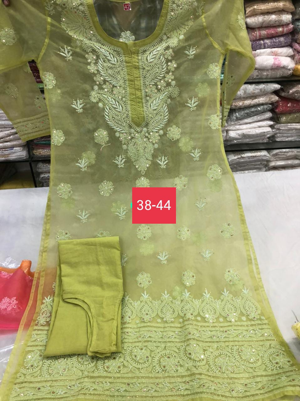 Buy Any 2 Organza Kurtis fine chikan work