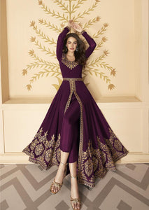 Buy 5 sets of Wine Color Embroidered Georgette Front Slit Abaya Pant Suit