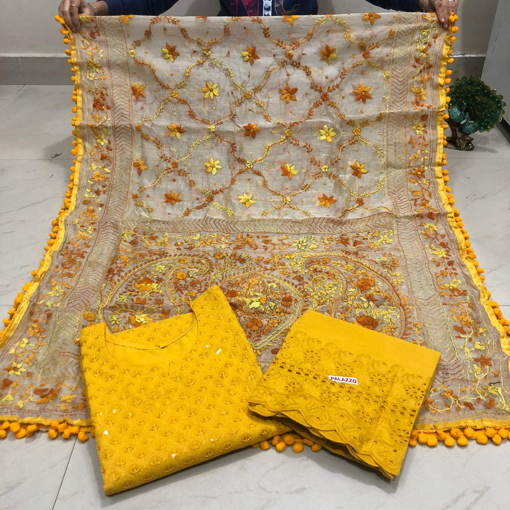 Buy any 10 Chikan Kurti 3 pc with kashmiri work Dupatta Free Shipping USA UK AUSTRALIA etc