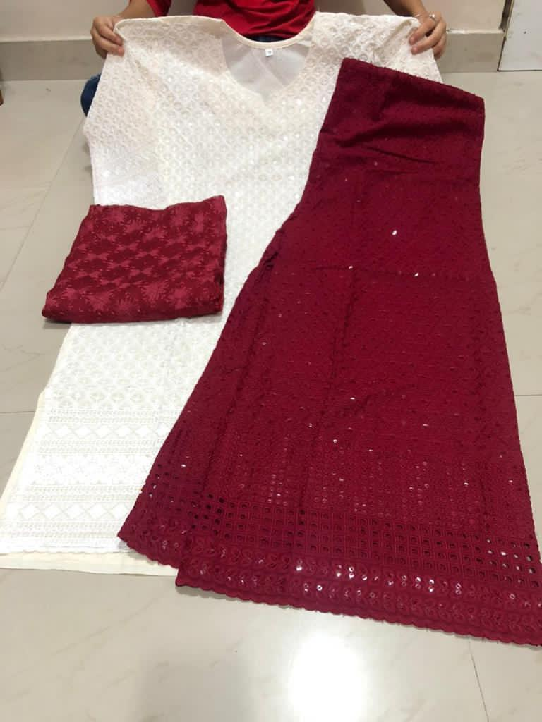 Buy any 10 Cotton Chikan Kurti Palazzo Suit With Dupatta