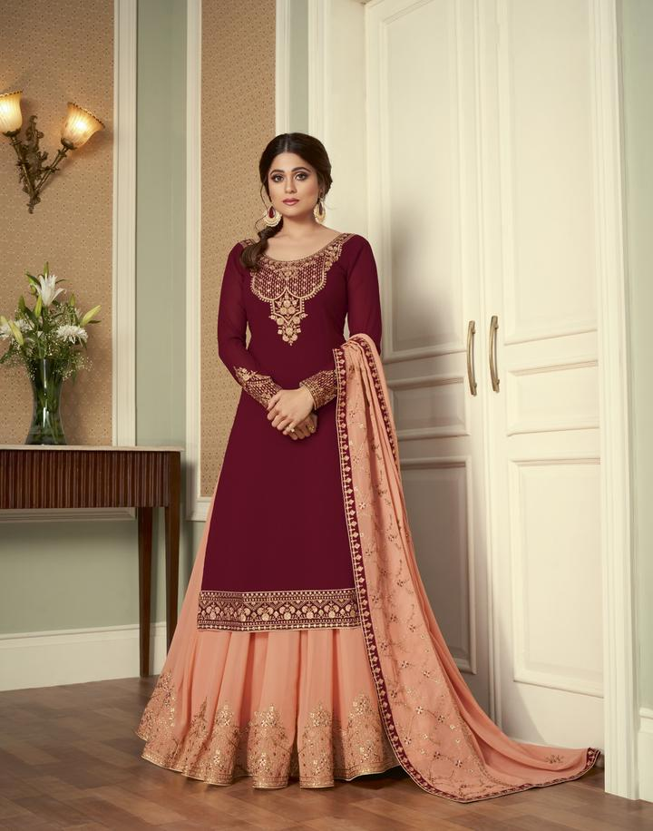 Buy 5 sets of Embroidered Georgette Ghagra Choli Dress