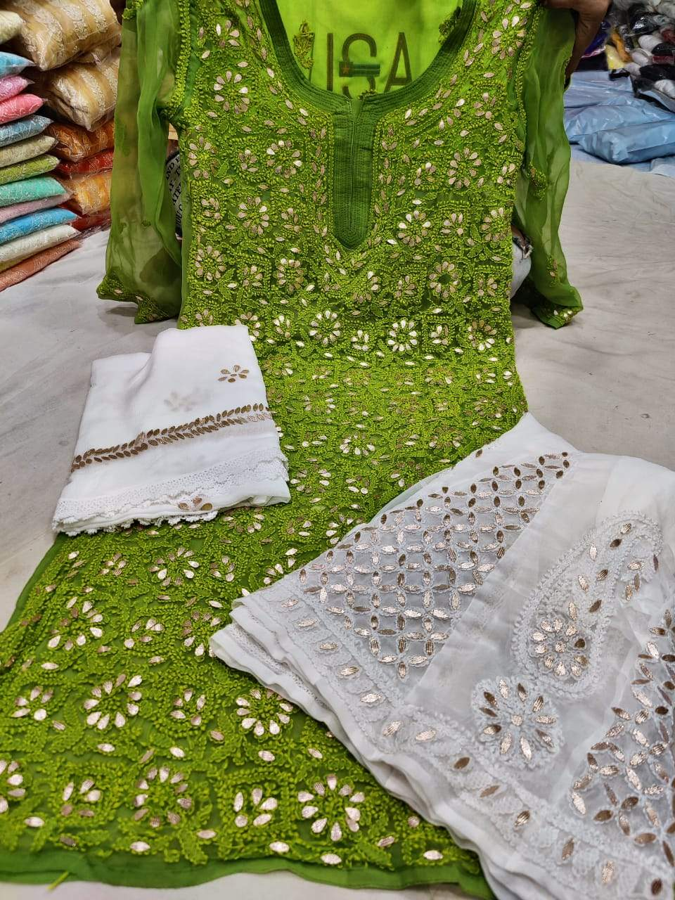 Mehendi Green Georgette Gota Patti Kurti Palazzo Salwar Suits With Price