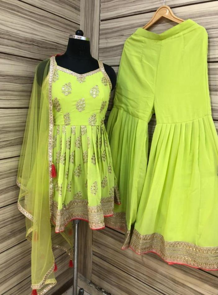 Fluorescent Green Frock style sleeveless Designer Punjabi suit with heavy zari work