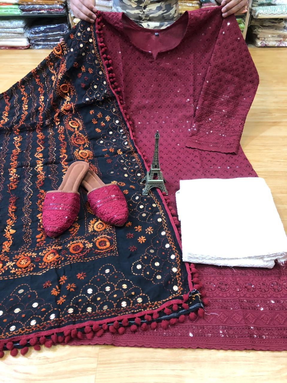Black and Maroon Kurti Pallazo and Jutti Combo Exclusive pom Pom phulkari Pure georgette handwork embroidery dupatta