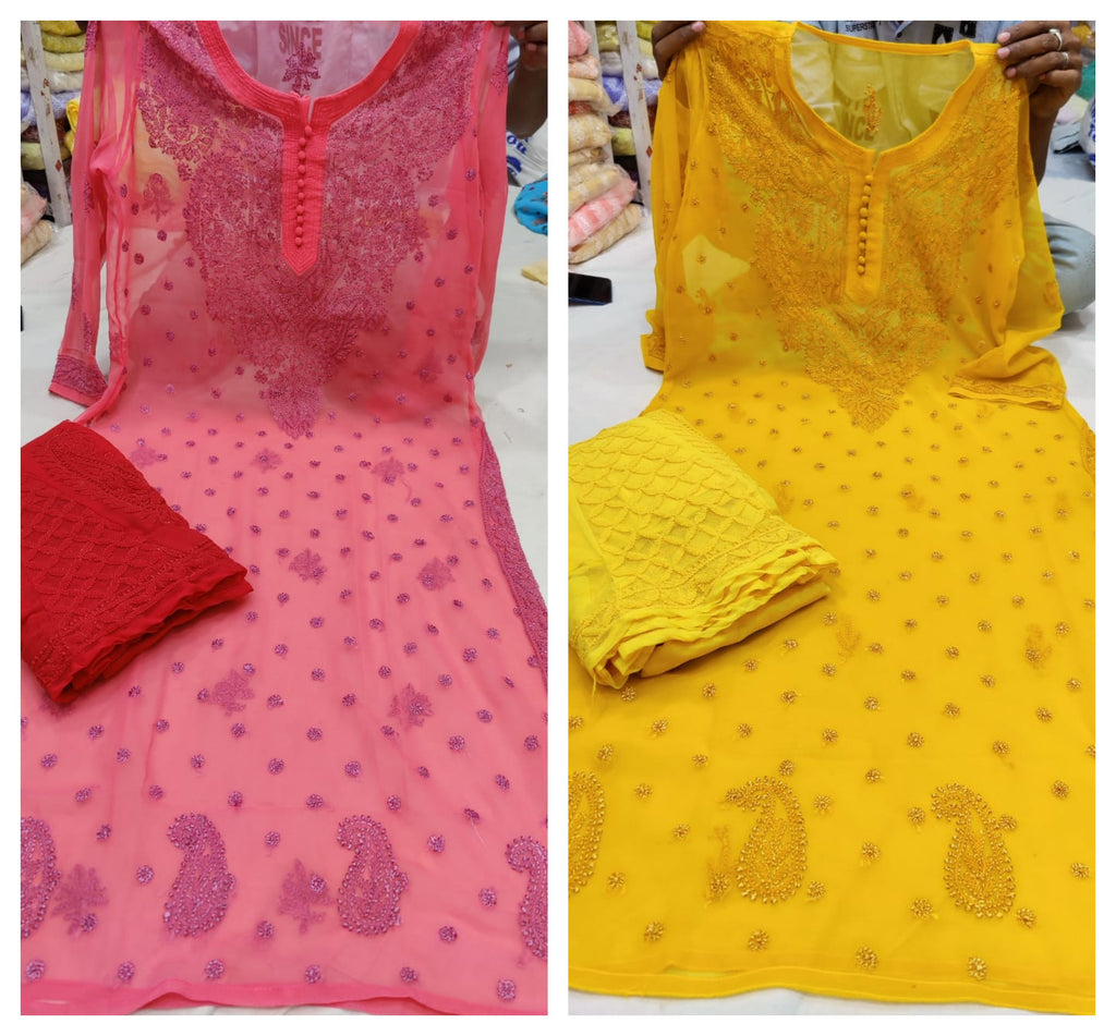 Buy Any 2 Cotton Chikankari Work Kurti Palazzo Sets
