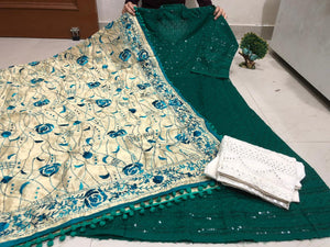 Buy any 10 Chickankari Sequins Work Anarkali Palazzo With Dupatta