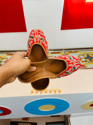 Buy  Any 2 Red colour  combo sets of Beautiful   Embroidered Women's Leather Juttis Online