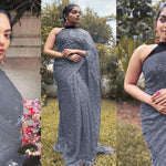 Grey Georgette With Fancy Sequins Work New Party Sarees Online Shopping