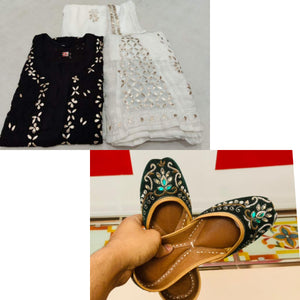 Buy 6 sets of black  Georgette Lucknowi Chikankari Kurti Sharara with embrodery jutti