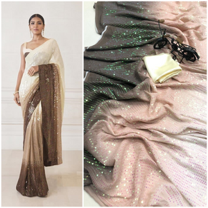 Buy any 10 Ombre Sequin Combo Saree in Georgette with Satin Blouse
