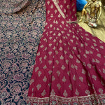 Red Premium Silk Anarkali Gown With Gotta Detailing On Yoke With Dupatta