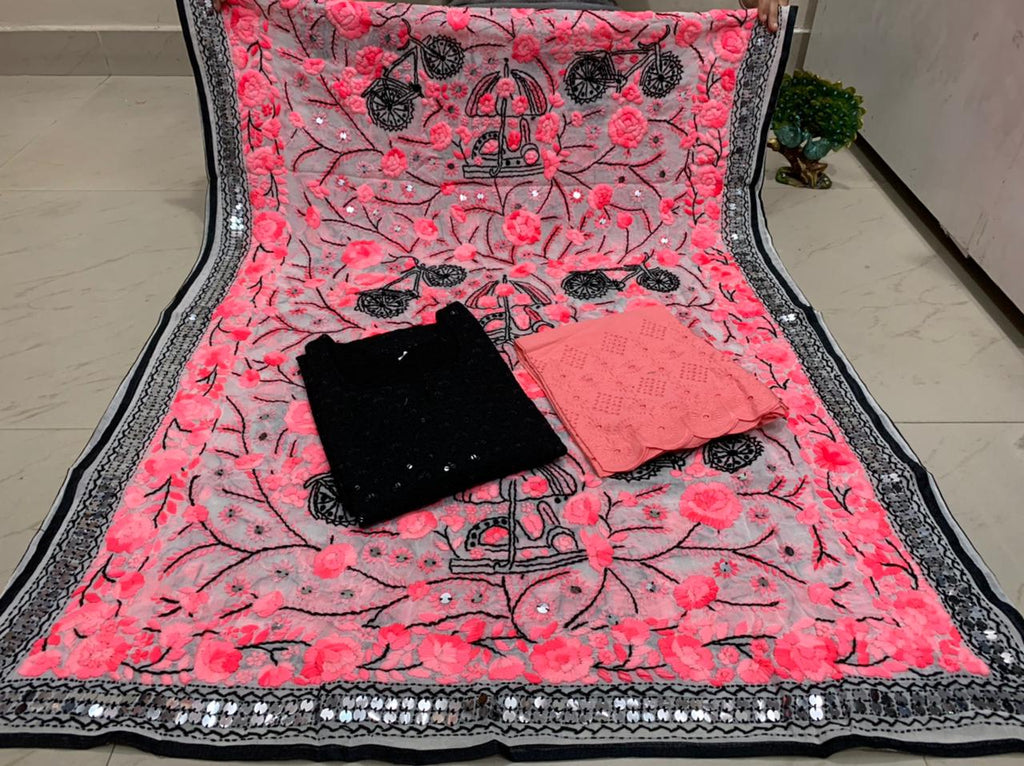Beautiful Kashmiri Heavy Threadwork Raw Silk Dupatta With Black Cotton Kurti & Peach Pink  Plazo