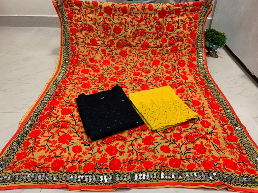 Beautiful Kashmiri Heavy Threadwork Raw Silk Dupatta With Black Cotton Kurti & Yellow   Plazo