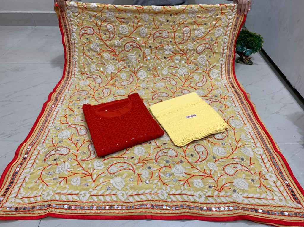 Beautiful Kashmiri Heavy Threadwork Raw Silk Dupatta With Dark Red Cotton Kurti & Light Yellow  Plazo